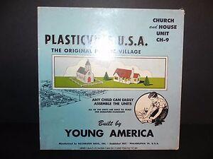VINTAGE PLASTICVILLE U.S.A. ~ CHURCH & HOUSE UNIT CH-9 ~ NEW With Original Box!