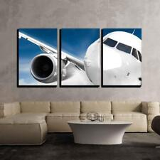 "Wall26 - Fast Airplane in the Sky- Canvas Art Wall Home Decor - 16""x24""x3 Panels"