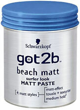 2X Schwarzkopf Got 2B Beach Matt Surfer Look Matt Paste Medium Hold 100ml