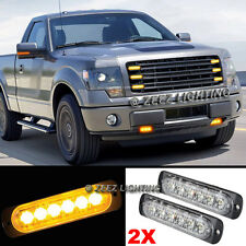 2X 6 LED Amber/Yellow Emergency Hazard Warning Strobe Beacon Caution Light Bar10