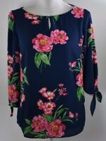 Talbots women's blouse small petite PS top shirt pullover floral print work blue
