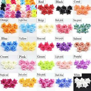 "100X DIY 2"" Artificial Fake Rose Silk Flower Head Bulk Wedding Home Garde Decor"