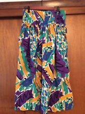 Vintage Women's Counterparts Drop Waist Abstract Print Skirt 10 Purple Yellow