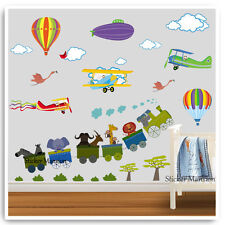 Animal Balloon Airplane Wall Stickers Jungle Train Nursery Baby Kids Room Decals