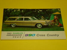 1965 RAMBLER AMBASSADOR 990 CROSS COUNTRY POSTCARD, DEALER ADVERTISEMENT