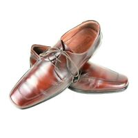Longford | Brown Smart Dress Square Toe Leather  Lace Up Shoes | Mens Size 9