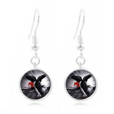 Goat Gothic Photo Tibet Silver Dome Photo 16MM Glass Cabochon Long Earrings#216