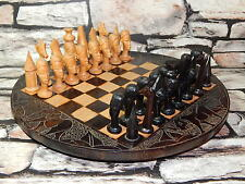 Superb hand carved tribal african chess set with round board & full set pieces