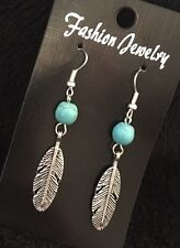 Native American Turquoise Bead Feather Earrings Dream Catcher Studs Wings Lucky