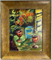 "Original Signed Oil Painting Modernist Still Life w/ Hidden Message 20""x24"""