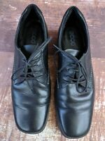 Ecco Soft Leather Shoes Oxfords Womens 40 Black Lace-Up Comfort Walking