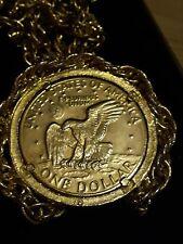 Gold-Münze US Eagle eingefasst , mit Kette /14 K/coin-one-Dollar+chain Gold 14 K