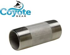 """304 SS 1/2"""" NPT x 2"""" Long Sch 40 Pipe Nipple Threaded Both Ends Stainless Steel"""