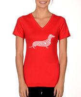 DACHSHUND HEARTS cute fun wiener dog pet Valentine's Day Women's V-neck T-Shirt