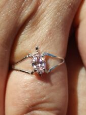 Pink Sapphire Oval Cut Turtle Ring 14kt Solid White Gold