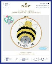 "GENUINE DMC ""BUMBLE BEANIE"" COUNTED CROSS STITCH KIT 5"" HOOP & ALPHABET INCLUDED"