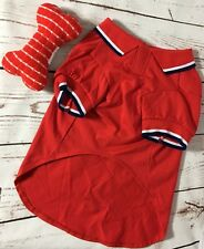 """Lot of American Kennel Club Red Dog Shirt Sz L 26-30""""Girth and a Dog Squeaky Toy"""