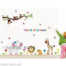 Safari Animals Monkey Lion Tiger Elephant Home Kids Decor Wall Sticker Art Decal