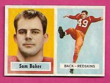 1957 TOPPS  # 72 REDSKINS SAM BAKER  ROOKIE NRMT CARD (INV# C0164)