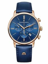 Maurice Lacroix Eliros Chronograph Quartz Watch Gold 24k Blue 40mm Leather