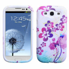 For Samsung Galaxy S III 3 TPU CANDY Flexi Gel Skin Case Cover Artistic Flowers
