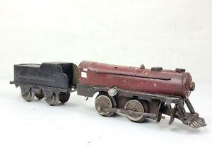 Vintage Bing Marx Wind-Up Locomotive Engine Tender Tin O Gauge Flyer Lionel KBub