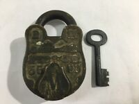 An old antique brass collectible CARVING decorative padlock lock key ALIGARH