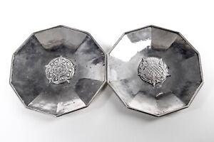 2X Omar Ramsden Silver 925, 7oz Dishes, Tudor Rose & Thistle,  London 1934