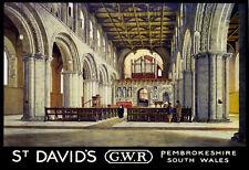 Art Ad St Davids Pembrokeshire South Wales GWR Train Rail Travel  Poster Print