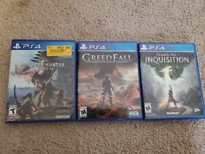 PS4 Sony PlayStation 4 Game Lot Dragon Age Greedfall Monster Hunter World