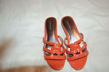 Calvin Klein Orange Patent Leather Wedges Flip Flop Shoes Size 6 M