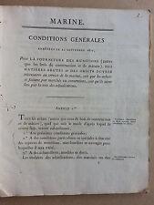 fourniture munitions de marine 1823 +copies manuscrites administration