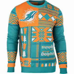Miami Dolphins Patches Ugly Christmas Sweater NFL-Crew Neck NEW-2015 Small