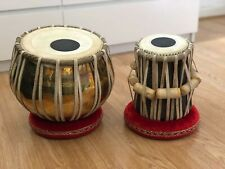 More details for new professional brass bayan tabla pair+cushions & covers, tuning hammer & case