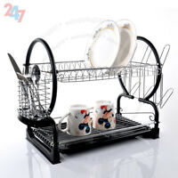 2 TIER CHROME PLATE DISH CUTLERY CUP DRAINER RACK DRIP TRAY HOLDER BLACK S247