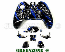 Blue Splatter Xbox One Replacement Controller Shell Mod Kit with Buttons Mod Kit