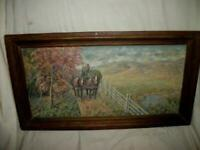 ANTIQUE OIL PAINTING MASONITE COUNTRY ROAD HAY WAGON HORSES 100 YEARS OLD