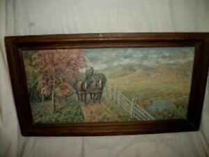 1920s ANTIQUE OIL PAINTING COUNTRY ROAD HAY WAGON HORSES MASONITE 100 YEARS OLD