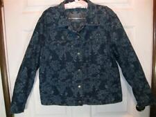 Artsy CHICOS Blue Flowered Paisley Denim Jacket Top 2 + Pants 3 Lg