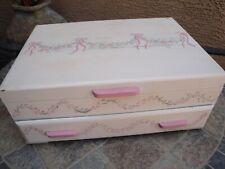 Vintage Wood 2 Drawer tarnish resistant Flatware SILVERWARE CHEST BOX