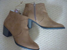 MANTARAY TAN FAUX SUEDE MILLIE MID HEEL ANKLE BOOTS. UK 7, EUR 40, US 9. BNWT