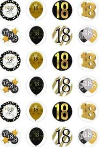 24 x PRECUT 18TH BIRTHDAY GOLD/18 YEAR OLD RICE/WAFER PAPER CUP CAKE TOPPERS