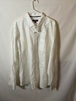 Johnnie O Mens Button-Down Shirt Mens XXL 2XL Solid White Long Sleeve Logo