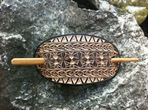 Geometrical hand carved leather hair barrette