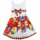 New Girls Dress Red Flower Print Party Pageant Christmas Holiday Kids Clothing