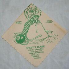 Walt's Place South Gate Ca. 1940s Vintage paper cocktail napkin