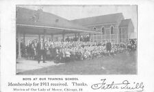 Chicago Illinois~Father Quille With Boys~Mission Training School~1911 Postcard