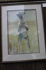 A lucy M Wiles African signed print depicting a girl.