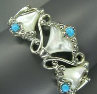 CAROLYN POLLACK Relios Sterling Silver MOTHER OF PEARL & TURQUOISE Cuff Bracelet