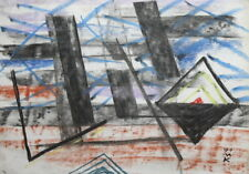 1991 ABSTRACT AVANT GARDE CUBIST PASTEL DRAWING SIGNED